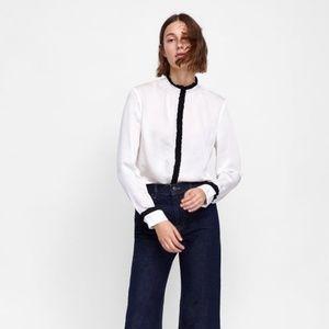 NWT Zara Size S White Contrast Ruffle Piping Shirt